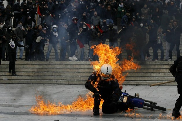 Police Greece Fire Protest