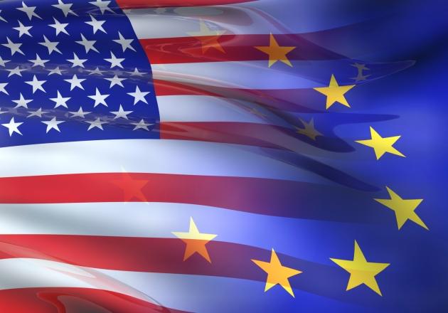 US - EU flag 3D
